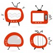 Stock Vector: Old retro TV collection isolated on white