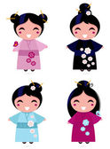 Cute Geisha set isolated on white — Stock Vector