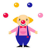 Juggling colorful circus Clown isolated on white — Stock Vector