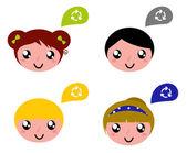 şirin geri dönüşüm çocuklarla konuşma balonları ayarla — Stok Vektör