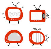 Old retro TV collection isolated on white — Stock Vector
