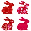Abstract spring bunny set isolated on white ( red ) — Stock Vector