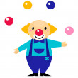 Cute cartoon jugglery Clown character — Stockvectorbeeld