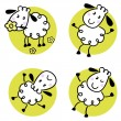 Cute doodle sheep set isolated on white — Stock Vector