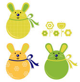 Colorful easter bunny stickers set — Stock Vector