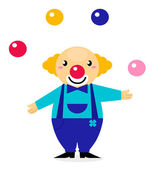 Cute cartoon jugglery Clown character — Stock Vector