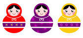 Russian Matryoshka Dolls collection isolated on white — Stock Vector