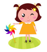 Cute child with colorful windmill isolated on white — Stock Vector
