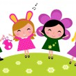 Easter cute happy party kids, spring celebration — Stock Vector