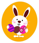 Cute Bunny holding easter eggs — Stock Vector