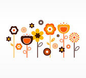 Retro spring flowers collection ( orange and brown ) — Stockvector
