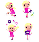 Cute little Child with spring Flowers — Stock Vector