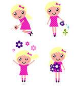 可爱小孩与春天的花朵 — 图库矢量图片