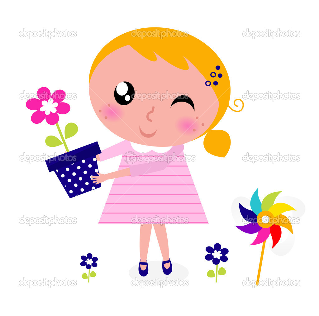 Cute spring flower - Cute Spring Girl With Flower Isolated On White Stock Illustration