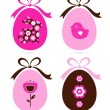 Retro easter eggs set isolated on white ( pink & brown ) — Stock Vector