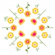 Stylized retro vector flowers in circle ( yellow ) — Stok Vektör