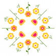 Stylized retro vector flowers in circle ( yellow ) — Stock Vector