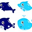 Sea life cartoon set isolated on white — Stock Vector