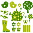Garden objects and elements ( green ) — Stock Vector