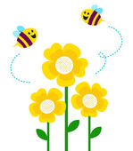 Cute little bees flying around flowers — Stock Vector