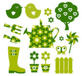 Garden objects and elements ( green ) — Cтоковый вектор