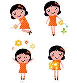 Cute little gardener Girl set ( retro ) — Stock Vector