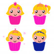 Cute little vector princess / girls cakes set — Stock Vector