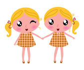 Cute little retro twins isolated on white — Stock Vector