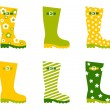 Spring wellington rain boots set isolated on white - Stock Vector