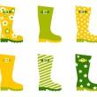 Spring wellington rain boots set isolated on white — Stock Vector #9904933