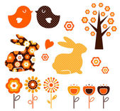 Retro spring easter design elements set ( vector ) — Stock Vector