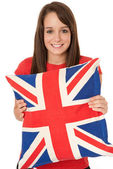 Woman holding Great Britain flag — Stock Photo
