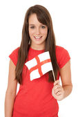 Woman waving England flag — Stock Photo