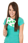 Woman waving Shamrock flag — Stock Photo