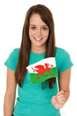 Woman waving the Welsh flag — Stock Photo