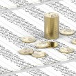 One Dollar coins on spreadsheet — Stock Photo