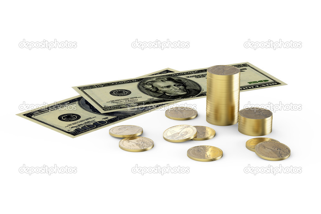 Dollars and one dollar coins on white background — Stock Photo #10129464