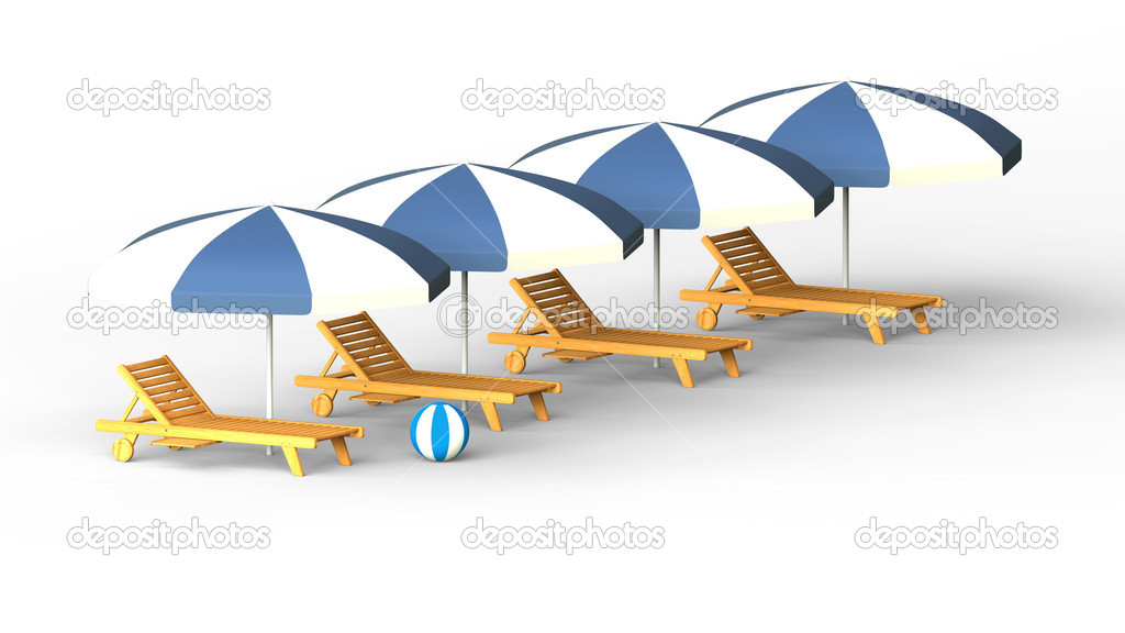 Wooden sunbeds and umbrellas on white background — Stock Photo #10168742