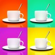 Four cups isolated on different backgrounds — Stock Photo
