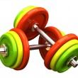 Multicolored barbells in different position — Foto de Stock