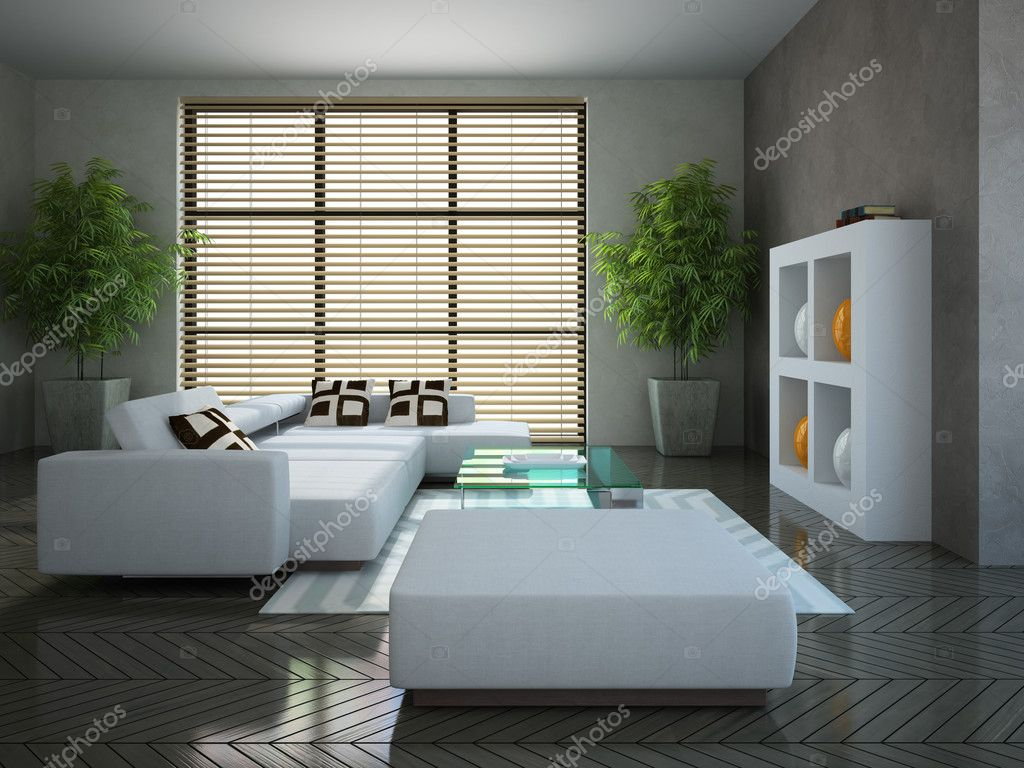 Modern interior with two plants 3D — Stock Photo #10578125
