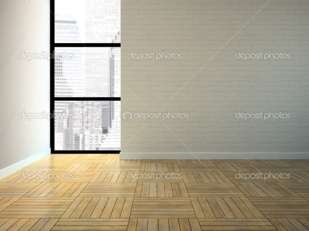Empty room with brick wall 3D rendering  Stock Photo #10608864