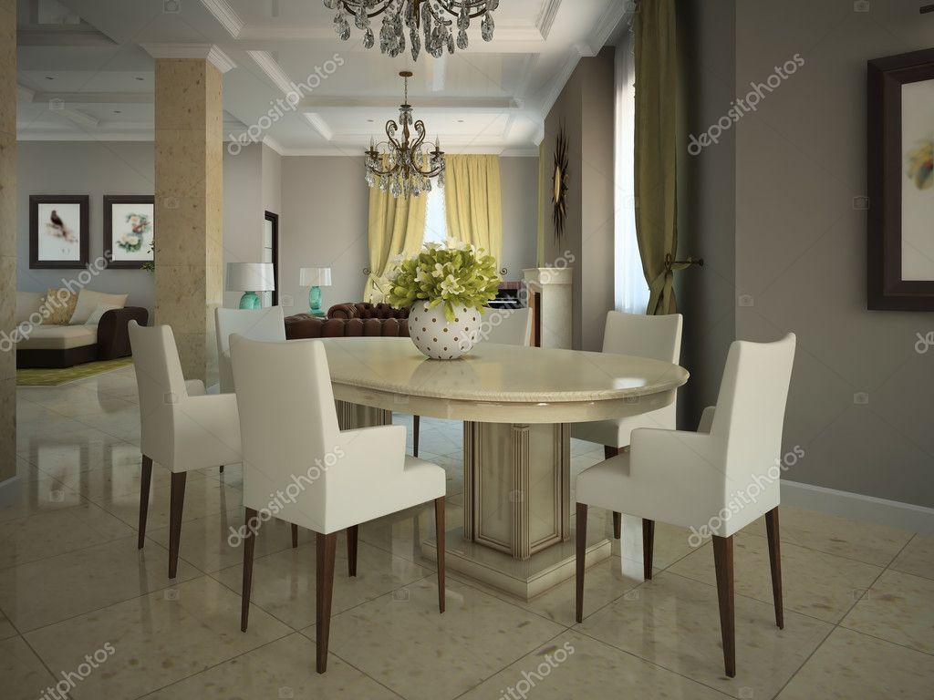 Scarica Sala Da Pranzo In Rustico Moderno 3d — Immagini Stock  #80754B 1024 768 Lampadario Sala Da Pranzo
