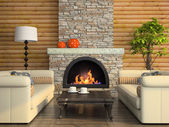 Part of the modern interior with fireplace — Stock Photo