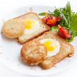 Fried eggs with toast — Stock Photo #10345422
