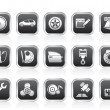 Car parts, services and characteristics icons — 图库矢量图片