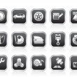 Car parts, services and characteristics icons — Stockvectorbeeld
