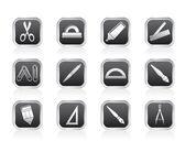 školní a kancelářské nástroje ikony — Stock vektor