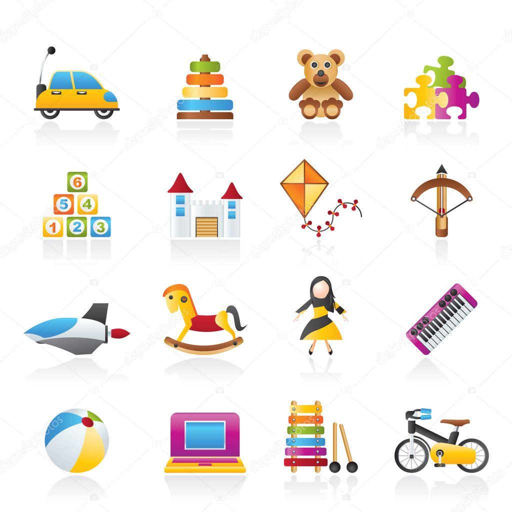 不同种类的玩具图标-矢量图标集 — 矢量图片作者 stoyanh