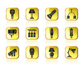 Different kind of lighting equipment — Stock Vector